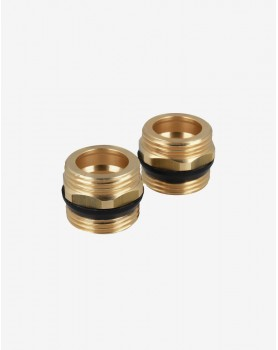 A set of two brass G1 'nipples with conical seals
